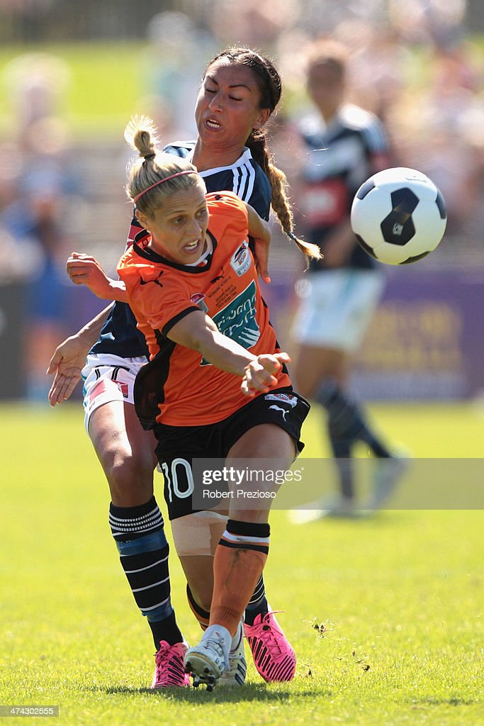 Katrina-Lee Gorry of the Roar controls the ball during the W-League Grand Final match between the Melbourne Victory and the Brisbane Roar at Lakeside Stadium on February 23, 2014 in Melbourne, Australia.