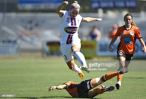 KatrinaLee Gorry of the Roar tackles Cecilie Sandvej of the Glory during the round eight WLeague match between the Brisbane Roar and the Perth Glory...