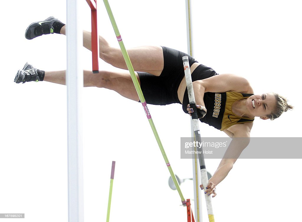 Katrine Haarklau of the Missouri Tigers lears the bar in the Women's pole vault ompetition at the Drake Relays, on April 26, 2013 at Drake Stadium, in Des Moines, Iowa.