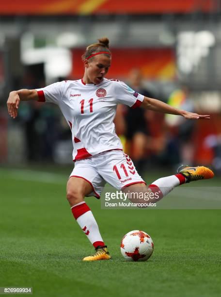 Katrine Veje of Denmark in action during the Final of the UEFA Women's Euro 2017 between Netherlands v Denmark at FC Twente Stadium on August 6 2017...