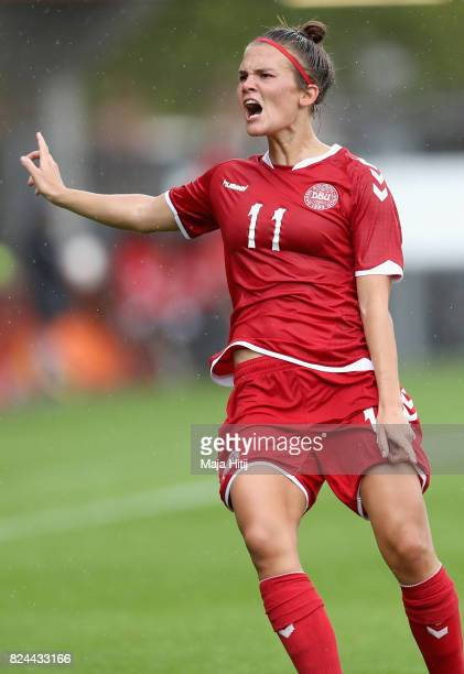 Katrine Veje of Denmark reacts during the UEFA Women's Euro 2017 Quarter Final match between Germany and Denmark at Sparta Stadion on July 30 2017 in...