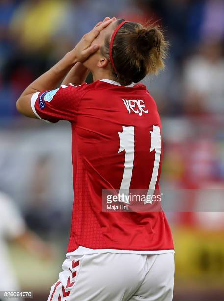 Katrine Veje of Denmark reacts during the UEFA Women's Euro 2017 Semi Final match between Denmark and Austria at Rat Verlegh Stadion on August 3 2017...