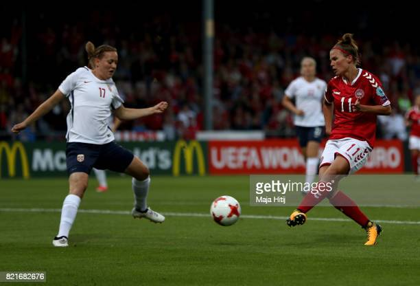 Katrine Veje of Denmark scores the opening goal during the Group A match between Norway and Denmark during the UEFA Women's Euro 2017 at Stadion De...