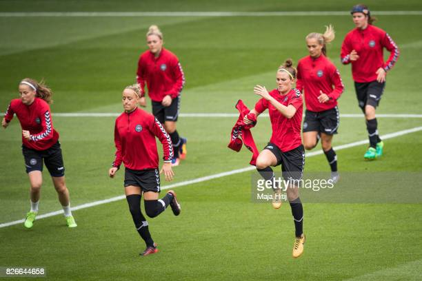 Katrine Veje Sanne Troelsgaard and the team warms up during a training prior UEFA Women's Euro 2017 Final against Netherlands at De Grolsch Veste...