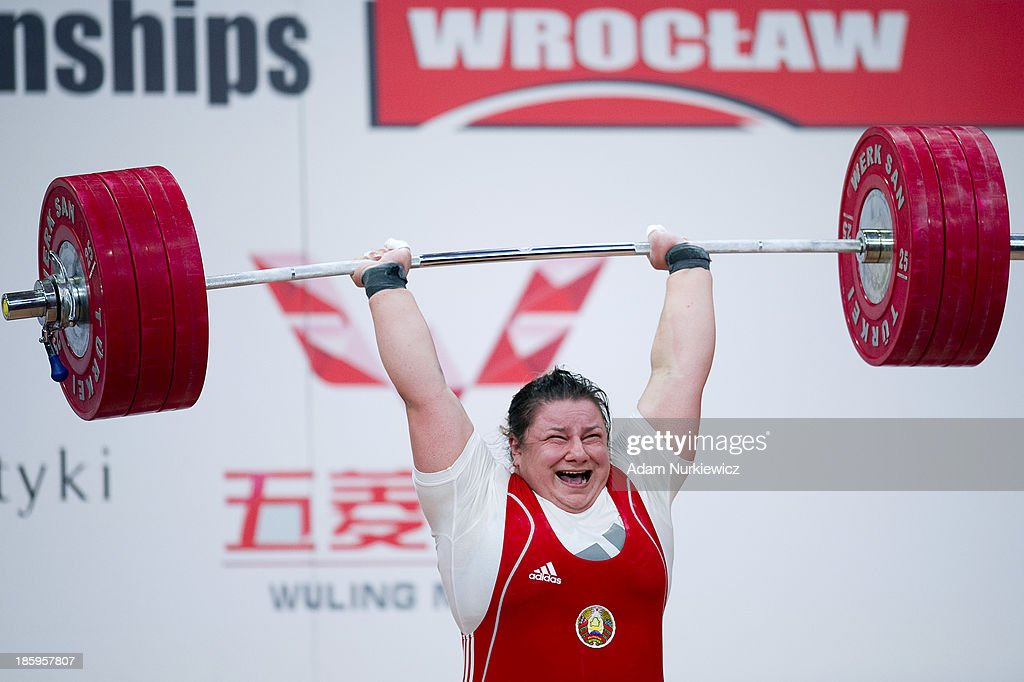 Katsiaryna Shkuratava from Belarus lifts in the Clean & Jerk competition women's +75 kg Group A during weightlifting IWF World Championships Wroclaw 2013 at Centennial Hall in Wroclaw on October 26, 2013