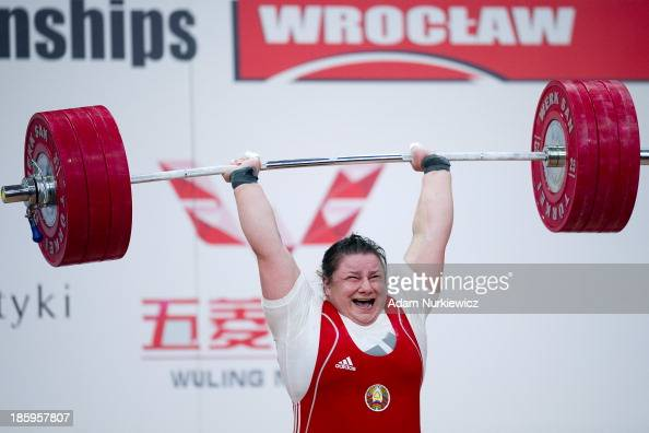 Katsiaryna Shkuratava from Belarus lifts in the Clean Jerk competition women's 75 kg Group A during weightlifting IWF World Championships Wroclaw...