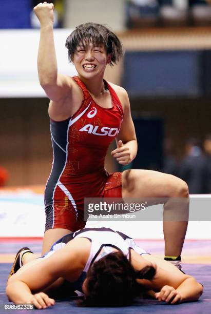 Katsuki Sakagami celebrates winning over Yuzuru Kumano in the WOmen's 58kg final during day one of the Meiji Cup All Japan Wrestling Invitational...