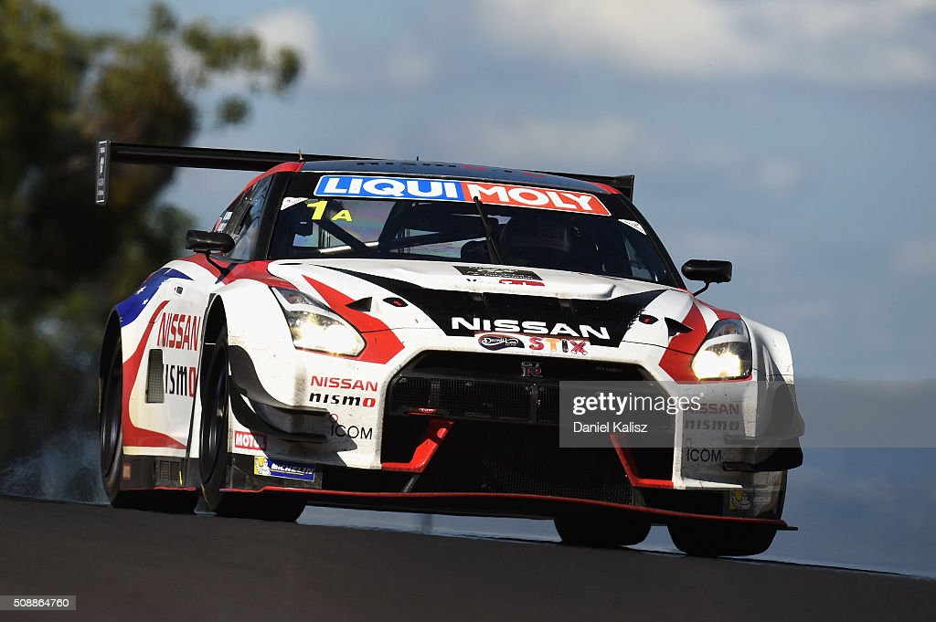 Katsumasa Chiyo drives the #1 Nismo Athlete Global Team Nissan GT-R Nismo GT3 during the Bathurst 12 Hour Race at Mount Panorama on February 7, 2016 in Bathurst, Australia.