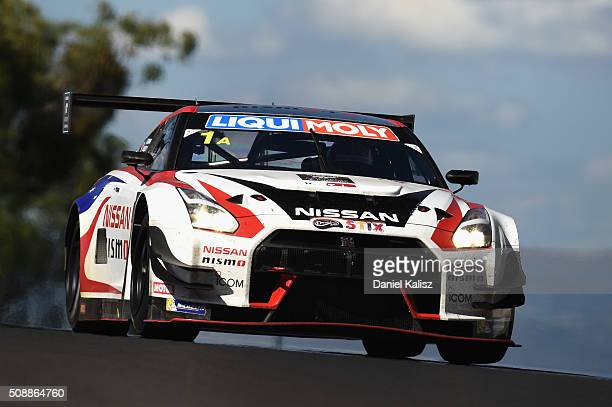 Katsumasa Chiyo drives the Nismo Athlete Global Team Nissan GTR Nismo GT3 during the Bathurst 12 Hour Race at Mount Panorama on February 7 2016 in...