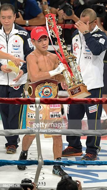 Katsunari Takayama of Japan celebrates winning against Riku Kano after the WBO Minimumweight title bout at the Komagatani Gymansium on August 20 2016...