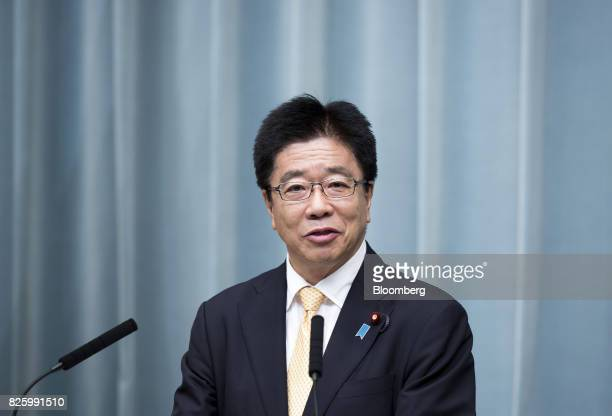 Katsunobu Kato newlyappointed health labor and welfare minster of Japan speaks during a news conference at the Prime Minister's official residence in...