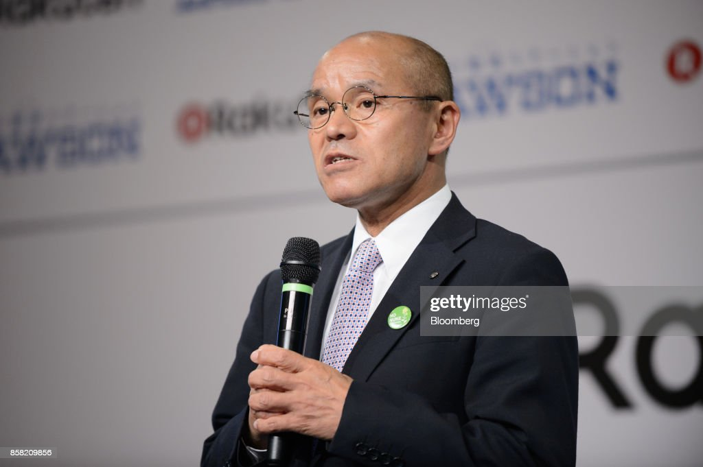 Katsunobu Sakurai, mayor of Minamisoma, Fukushima, speaks during a news conference in Tokyo, Japan, on Friday, Oct. 6, 2017. Rakuten Inc. and Lawson Inc. will cooperate on drone deliveries in Minamisoma, including the area where the evacuation order was lifted last year. The area was damaged by the 2011 earthquake and tsunami. Photographer: Akio Kon/Bloomberg via Getty Images
