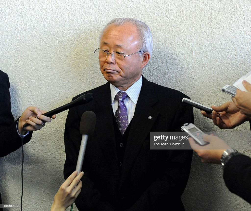Katsutaka Idogawa, mayor of Futaba Town, that has relocated all the town office function due to the most parts of the town are classified as no go zone of the Fukushima Daiichi Nuclear Power Plant, speaks to the media reporters after the town assembly passed the no confidence motion against Idogawa, at the temporary town office on December 20, 2012 in Kazo, Saitama, Japan. Idogawa did not attend the meeting between Fukushima Prefecture and related local mayors whether to accept the government's plan to build mid-term storage facility for radiation contaminated soil last month, and town assembly members demanded his resignation.