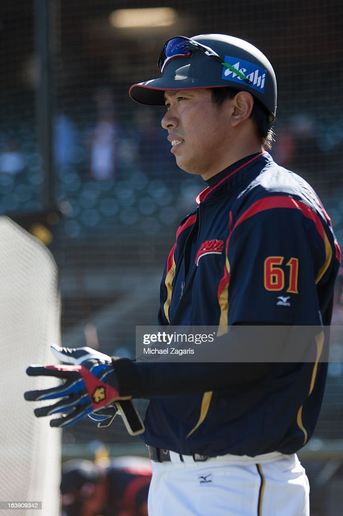 Katsuya Kakunaka #61 of Team Japan is seen during batting practice before the semi-final game against Team Puerto Rico in the championship round of the 2013 World Baseball Classic on Sunday, March 17, 2013 at AT&T Park in San Francisco, California.