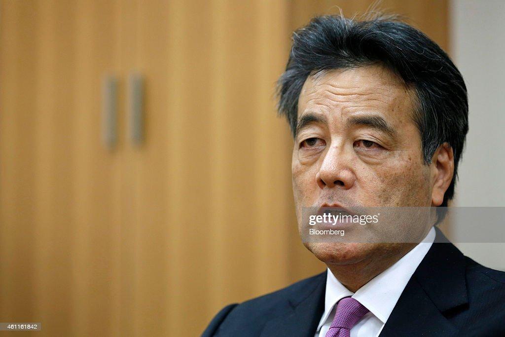 Candidate For President Of Democratic Party Of Japan Katsuya Okada Interview