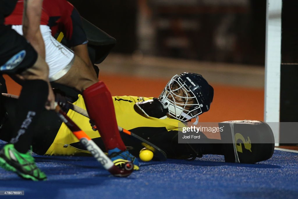 Katsuya Takase of Japan blocks a shot during the Test Match between the New Zealand Black Sticks and Japan at Blake Park on March 12, 2014 in Mount Maunganui, New Zealand.