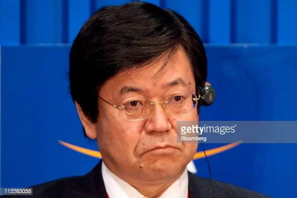 Katsuyuki Kawatsura managing director at Asahi Breweries Ltd attends a panel session at the Boao Forum for Asia in Boao Hainan Province China on...