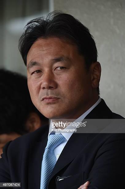 Katsuyuki Kiyomiya head coach of Yamaha Motor Jubilo during the Japan Rugby Top League match between Toyota Motor Verblitz v Yamaha Motor Jubilo at...