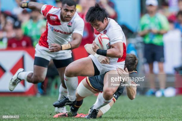 Katsuyuki Sakai of Japan is tacked during their Pool C match between Wales and Japan as part of the HSBC Hong Kong Rugby Sevens 2017 on 08 April 2017...