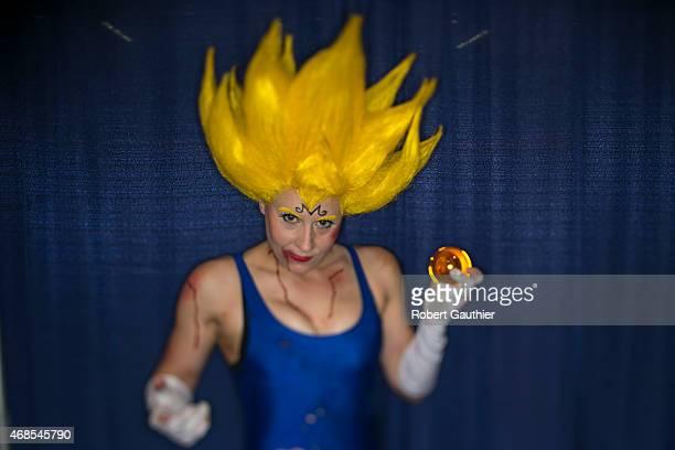 Katt McLaren as Majin Vegeta from Dragon Ball Z at Wondercon Anaheim 2015 April 3 2015 in Anaheim California