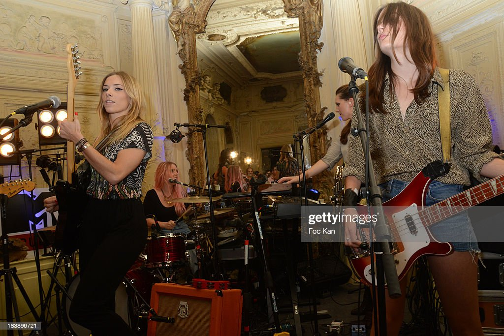 Katty Besnard, Anais Vandevyvere, Julie Gomel and Louise Basilien from The Plastiscines perform during the the Plastiscines private concert hosted by MTV Pulse at The Carmen Club on October 9, 2013 in Paris, France.
