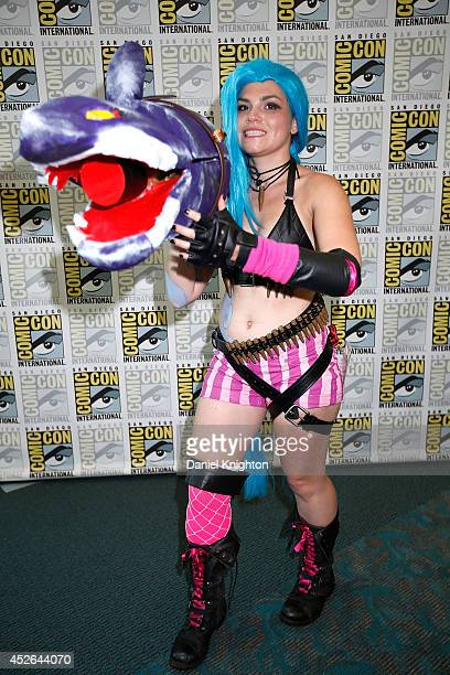 Katty Polyak of New York dresses as Jinx from the video game League of Legends at San Diego Convention Center on July 24 2014 in San Diego California