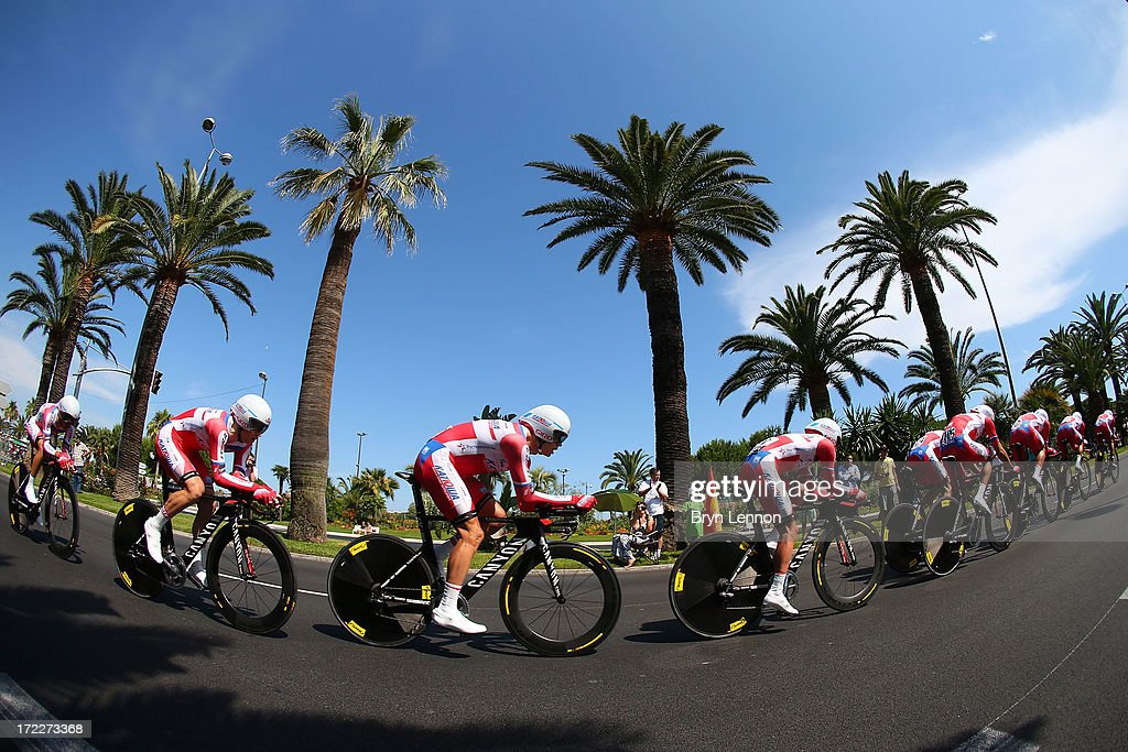 Katusha Team in action during stage four of the 2013 Tour de France, a 25KM Team Time Trial on July 2, 2013 in Nice, France.