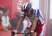 Katusha's Spanish cyclist Joaquin Rodriguez crosses the finish line of the 14th Stage of the 2015 Vuelta Espana cycling tour a 215km route between...
