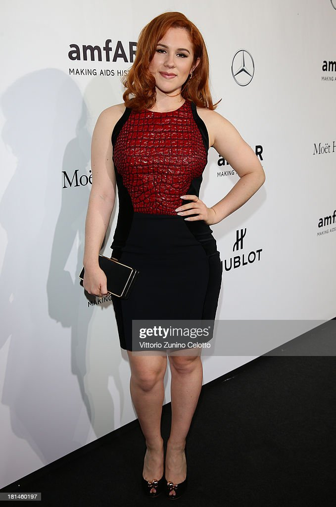 <a gi-track='captionPersonalityLinkClicked' href=/galleries/search?phrase=Katy+B&family=editorial&specificpeople=7179411 ng-click='$event.stopPropagation()'>Katy B</a> attends the amfAR Milano 2013 Gala as part of Milan Fashion Week Womenswear Spring/Summer 2014 at La Permanente on September 21, 2013 in Milan, Italy.