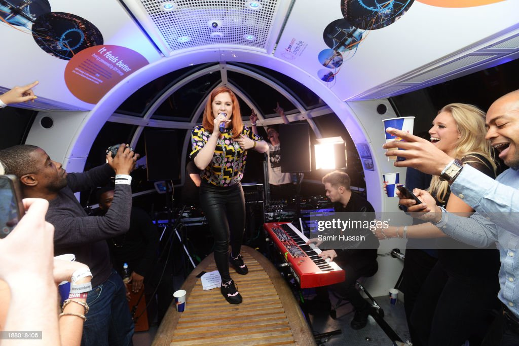 <a gi-track='captionPersonalityLinkClicked' href=/galleries/search?phrase=Katy+B&family=editorial&specificpeople=7179411 ng-click='$event.stopPropagation()'>Katy B</a> performs at Red Bull Revolutions in Sound on the EDF Energy London Eye, a celebration of UK club culture with 30 of the most legendary club nights in 30 capsules and streamed live on www.revolutionsinsound.com on November 14, 2013 in London, England.