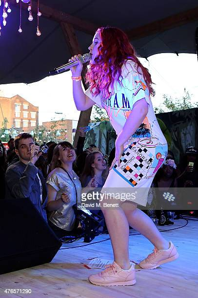 Katy B performs at the Kopparberg Urban Forest a free festival running for five weeks in Hackney Wick on June 10 2015 in London England
