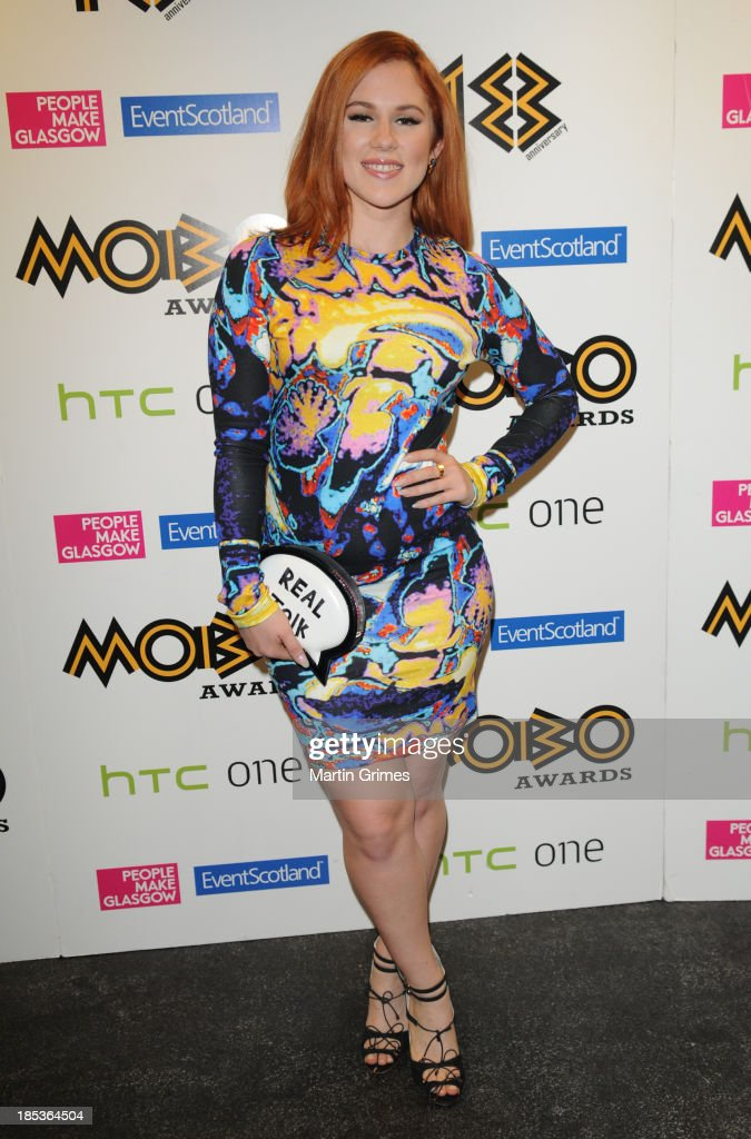 <a gi-track='captionPersonalityLinkClicked' href=/galleries/search?phrase=Katy+B&family=editorial&specificpeople=7179411 ng-click='$event.stopPropagation()'>Katy B</a> poses at the 18th anniversary MOBO Awards at The Hydro on October 19, 2013 in Glasgow, Scotland.