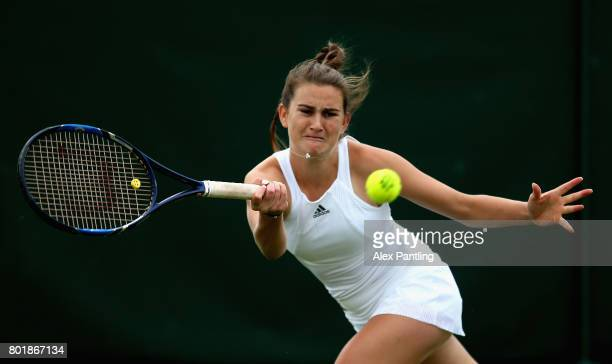 Katy Dunne of Great Britain in action during the ladies singles qualifying match against Ivana Jorovic of Serbia during the 2017 Wimbledon qualifying...