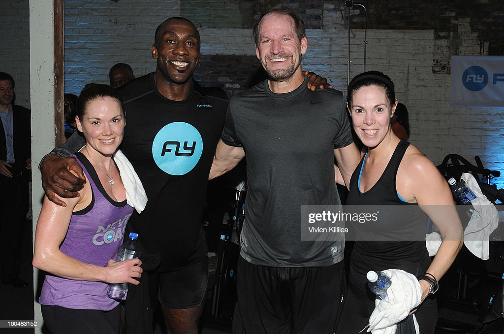 Katy Kellner, former NFL player <a gi-track='captionPersonalityLinkClicked' href=/galleries/search?phrase=Shannon+Sharpe&family=editorial&specificpeople=209398 ng-click='$event.stopPropagation()'>Shannon Sharpe</a>, former NFL coach <a gi-track='captionPersonalityLinkClicked' href=/galleries/search?phrase=Bill+Cowher&family=editorial&specificpeople=202940 ng-click='$event.stopPropagation()'>Bill Cowher</a> and Vice President of Communications, CBS Jen Sabatelle attend The Flywheel Challenge at the NFL House hosted by <a gi-track='captionPersonalityLinkClicked' href=/galleries/search?phrase=Shannon+Sharpe&family=editorial&specificpeople=209398 ng-click='$event.stopPropagation()'>Shannon Sharpe</a> at The Chicory on February 1, 2013 in New Orleans, Louisiana.