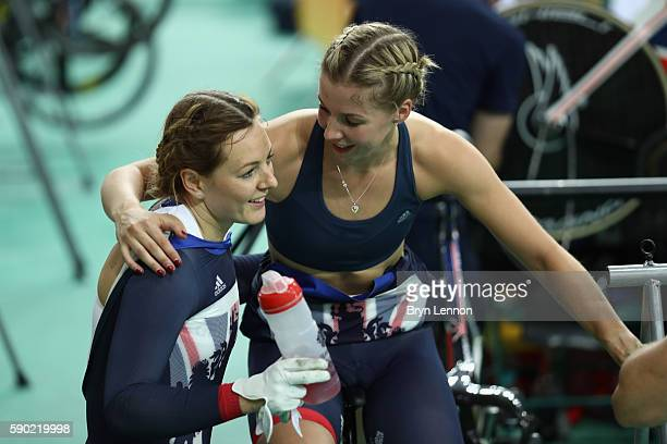 Katy Marchant of Great Britain and Rebecca James of Great Britain after the Women's Sprint Semifinal race on Day 11 of the Rio 2016 Olympic Games at...