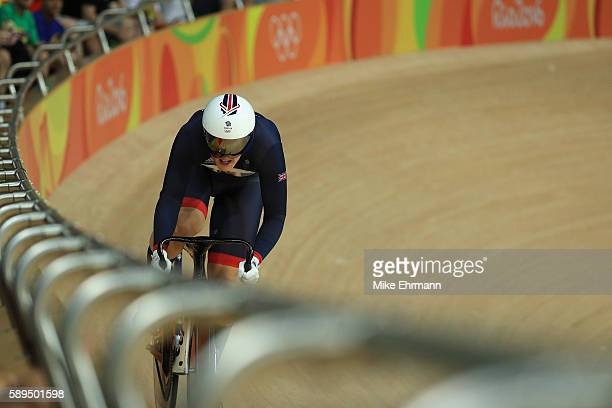 Katy Marchant of Great Britain rides in the Women's Sprint Qualifications on Day 9 of the Rio 2016 Olympic Games at the Rio Olympic Velodrome on...