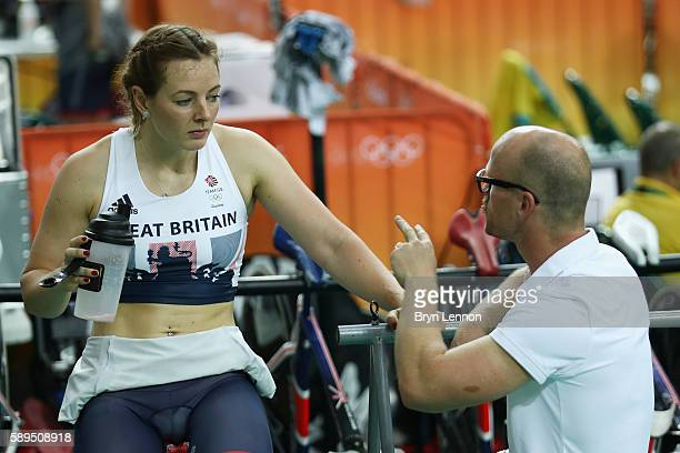 Katy Marchant of Great Britain speaks to her coach Jan van Eijden before the Women's Sprint 1/16 Finals on Day 9 of the Rio 2016 Olympic Games at the...