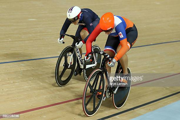 Katy Marchant of Great Britain wins bronze during the Women's Sprint Finals bronze medal race against Elis Ligtlee of the Netherlands on Day 11 of...