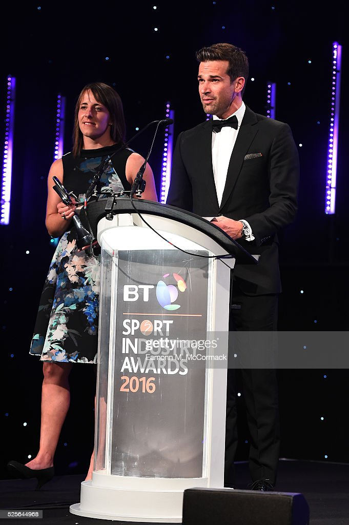 Katy McLean and Gethin Jones present the Best Sponsorship of Event or Competition in association with ICON to Land Rover #WeDealInReal at the BT Sport Industry Awards 2016 at Battersea Evolution on April 28, 2016 in London, England. The BT Sport Industry Awards is the most prestigious commercial sports awards ceremony in Europe, where over 1750 of the industry's key decision-makers mix with high profile sporting celebrities for the most important networking occasion in the sport business calendar.