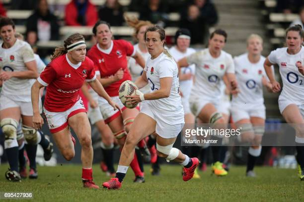 Katy Mclean of England looks for support during the Women's International Test match between Canada and the England Roses at Rugby Park on June 13...
