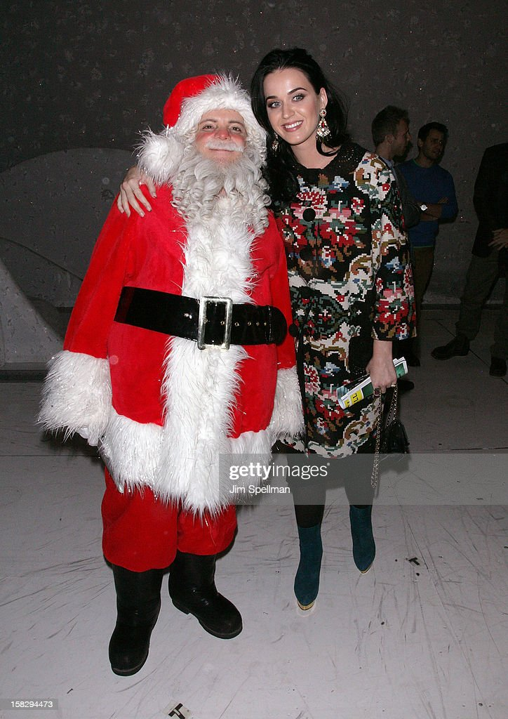 Katy Perry (R) and cast member Eddie Korbich attend 'A Christmas Story, The Musical' Broadway Performance at Lunt-Fontanne Theatre on December 12, 2012 in New York City.