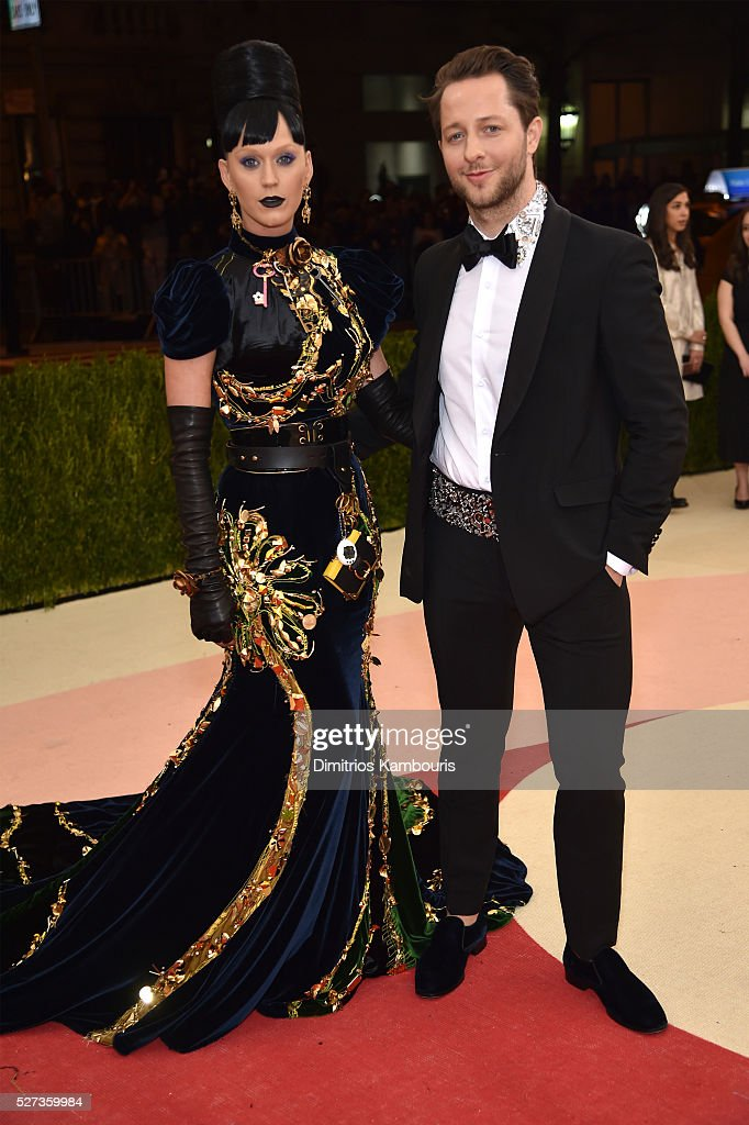 Katy Perry (L) and Derek Blasberg attend the 'Manus x Machina: Fashion In An Age Of Technology' Costume Institute Gala at Metropolitan Museum of Art on May 2, 2016 in New York City.