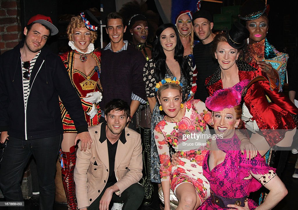 <a gi-track='captionPersonalityLinkClicked' href=/galleries/search?phrase=Katy+Perry&family=editorial&specificpeople=599558 ng-click='$event.stopPropagation()'>Katy Perry</a> and friends pose with the cast backstage at the Tony Nominated hit musical 'Kinky Boots' on Broadway at The Al Hirshfeld Theater on May 1, 2013 in New York City.