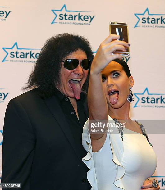 Katy Perry and Gene Simmons on the red carpet at the 2015 Starkey Hearing Foundation So The World May Hear Gala at the St Paul RiverCentre on July 26...
