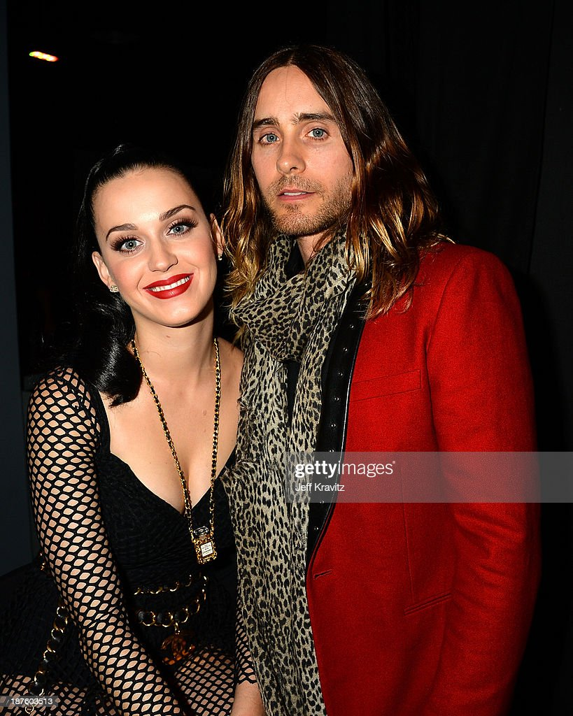 <a gi-track='captionPersonalityLinkClicked' href=/galleries/search?phrase=Katy+Perry&family=editorial&specificpeople=599558 ng-click='$event.stopPropagation()'>Katy Perry</a> and <a gi-track='captionPersonalityLinkClicked' href=/galleries/search?phrase=Jared+Leto&family=editorial&specificpeople=214764 ng-click='$event.stopPropagation()'>Jared Leto</a> pose backstage during the MTV EMA's 2013 at the Ziggo Dome on November 10, 2013 in Amsterdam, Netherlands.