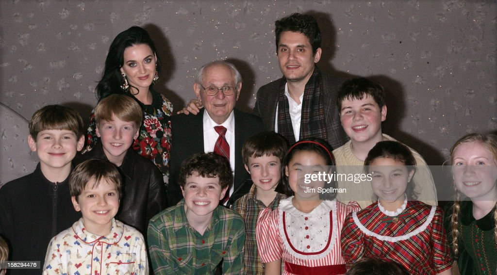 Katy Perry and John Mayer with the young cast of 'A Christmas Story, The Musical' Broadway Performance at Lunt-Fontanne Theatre on December 12, 2012 in New York City.
