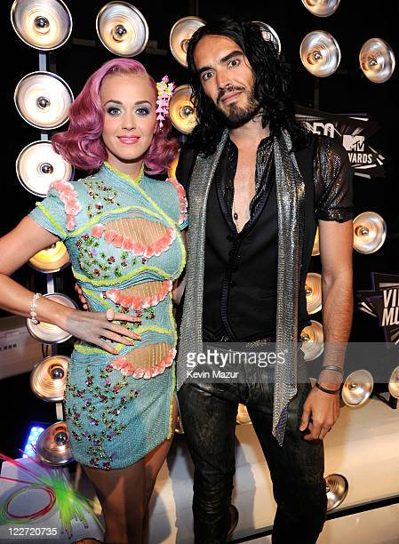 Katy Perry and Russell Brand arrives at the The 28th Annual MTV Video Music Awards at Nokia Theatre LA LIVE on August 28 2011 in Los Angeles...