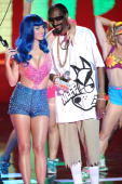 Katy Perry and Snoop Dogg perform onstage at the 2010 MTV Movie Awards at Gibson Amphitheatre on June 6 2010 in Universal City California