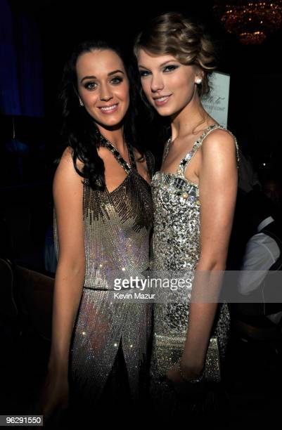 Katy Perry and Taylor Swift at the 52nd Annual GRAMMY Awards Salute To Icons Honoring Doug Morris held at The Beverly Hilton Hotel on January 30 2010...