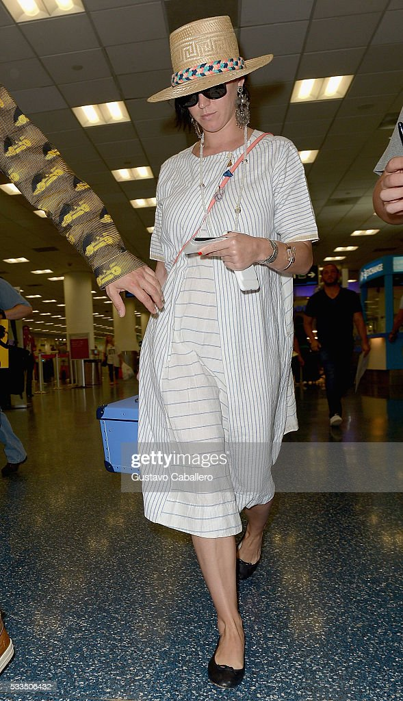 Katy Perry are seen at Miami International Airport on May 22, 2016 in Miami, Florida.